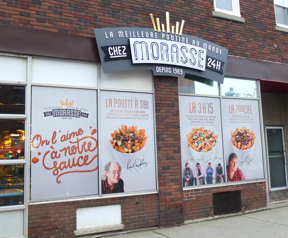 Habillage des vitrines - Chez Morasse - On l'aime à notre sauce