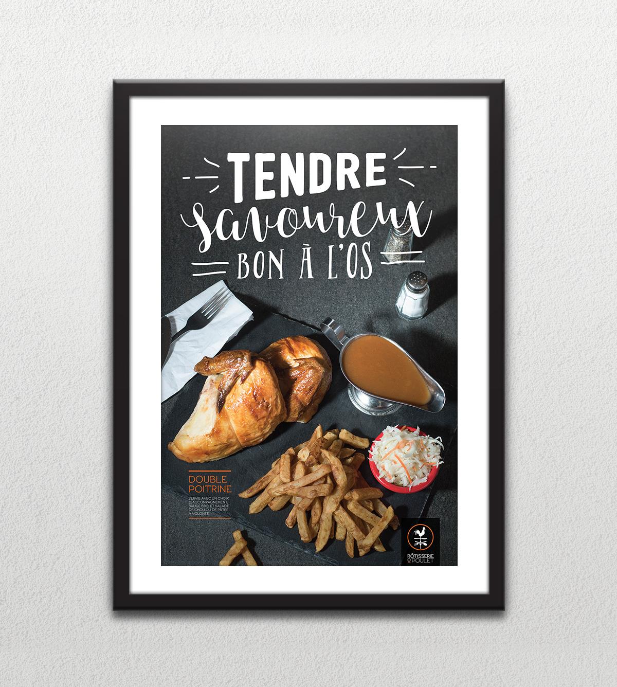 Affiche - Poitrine de poulet - Tendre savoureux bon à l'os