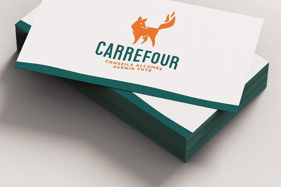 Carrefour de Rouyn-Noranda - Verso de la carte d'affaires avec logo